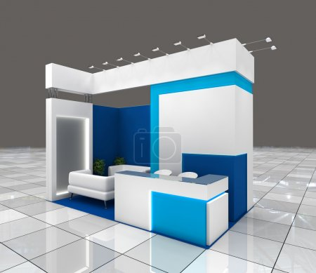 Photo for Small exhibition stand design with blank banners and lighting - Royalty Free Image