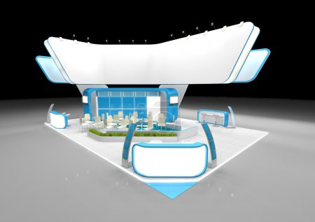 Photo for White and blue exhibition stand with large blank banner - Royalty Free Image