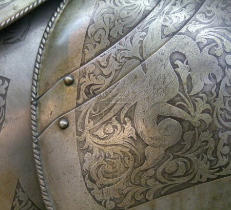 Close up view of medieval armor...