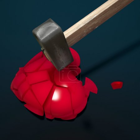 Photo for Red heart broken into pieces with iron hammer - Royalty Free Image