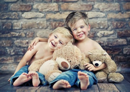 Photo for Two little boys enjoying their childhood - Royalty Free Image