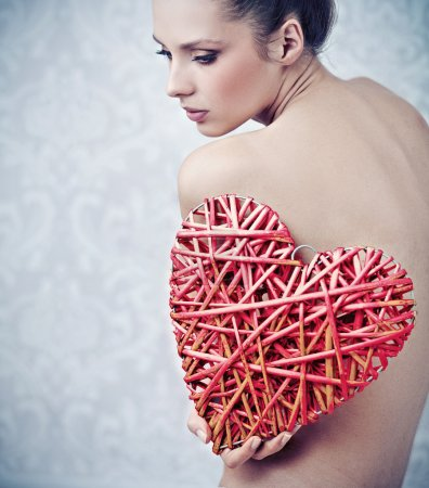 Art photo of a lady with broken heart