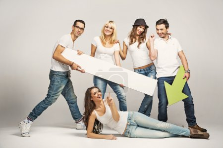 Photo for Group of young friends wearing white T-shirts - Royalty Free Image