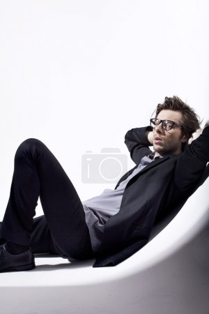 Very attractive young man relaxing in his place