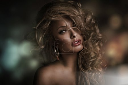 Photo for Picture of perfect woman face with dark background - Royalty Free Image