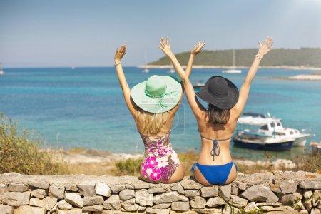 Two sexy women enjoying their holidays