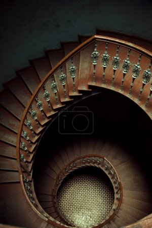 Art picture of wooden stairs