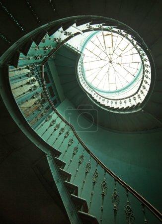 Art shot of wooden spiral stairs