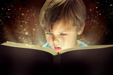 Little boy and the magic book