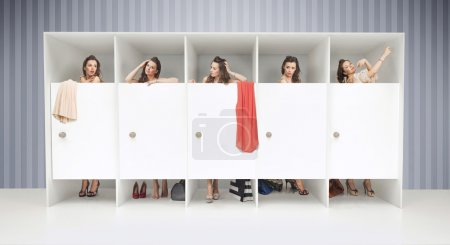 Photo for Five young girls in changing rooms - Royalty Free Image