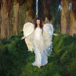 Marvelous lady-angel in the forest...