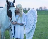 Blonďatý anděl pečující koně
