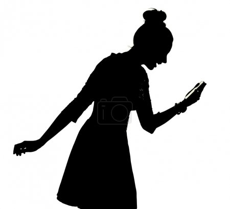 Happy woman using the smartphone