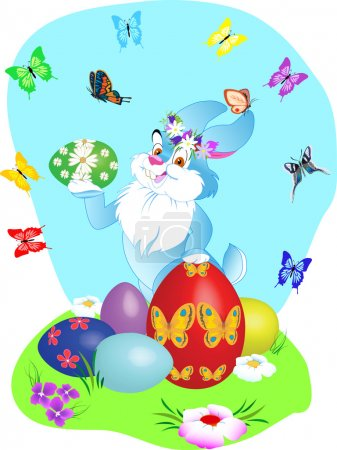 Illustration for Rabbit and easter eggs with flowers and butterfly - Royalty Free Image