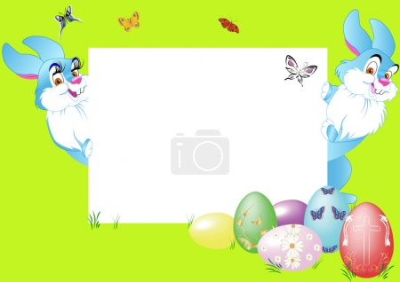 Illustration for Two rabbit felicitate on holiday with eggs - Royalty Free Image