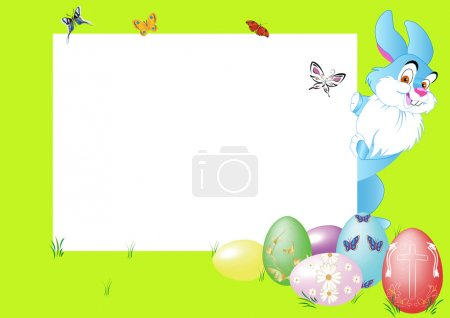 Illustration for Rabbit felicitate on holiday with eggs - Royalty Free Image