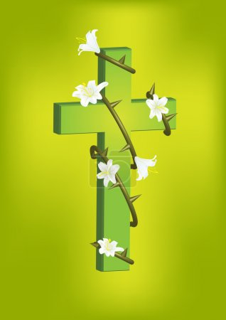 christian cross and white lily 2