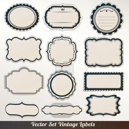Illustration for Vector Frame labels Set ornamental vintage decoration - Royalty Free Image