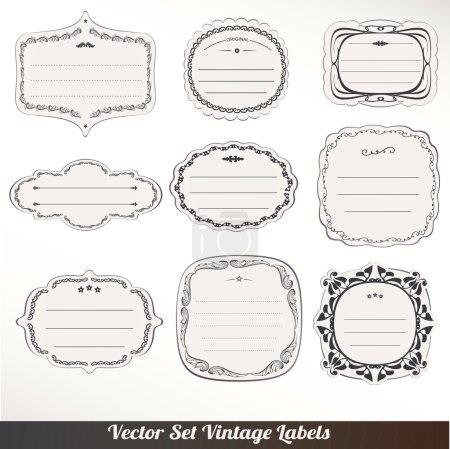 Photo pour Étiquettes de cadre vectoriel Set décoration vintage ornementale - image libre de droit