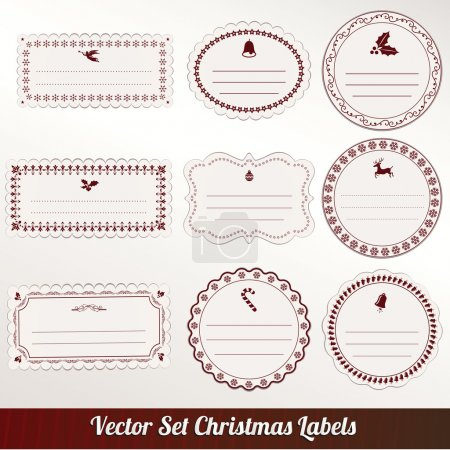Set of vector Christmas labels