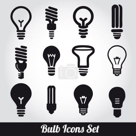 Illustration for Light bulbs. Bulb icon set - Royalty Free Image