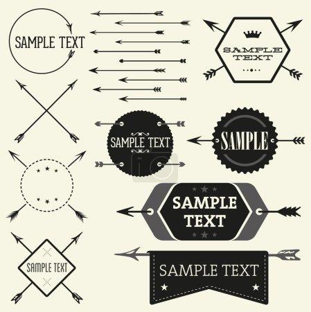Set of vintage styled design Hipster logo
