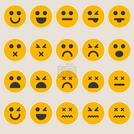 Illustration for Set smileys emoticons vector - Royalty Free Image