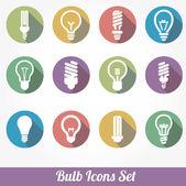 Icons set bulb idea led lamps