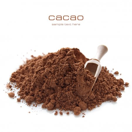 Heap of cocoa powder with wooden scoop isolated on...