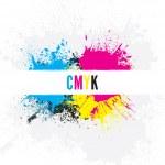 Grungy CMYK paint splatters