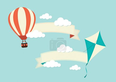 Illustration pour Une illustration d'un cerf-volant et air chaud des ballons avec des bannières - image libre de droit