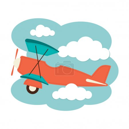 Biplane in the clouds