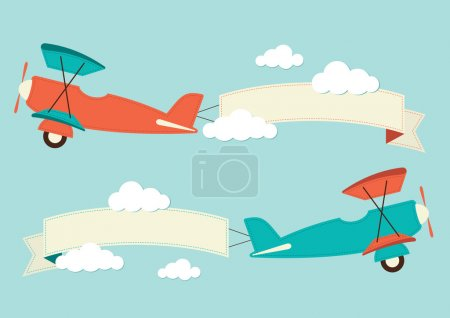 Illustration for Illustration of a biplane in the clouds - Royalty Free Image
