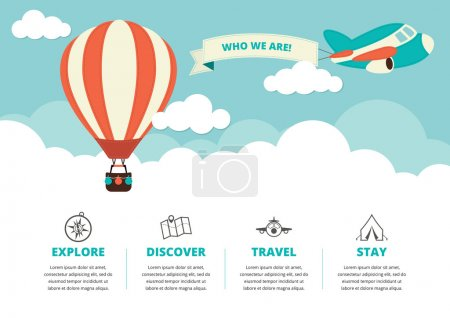 Website Layout with Travel Icons