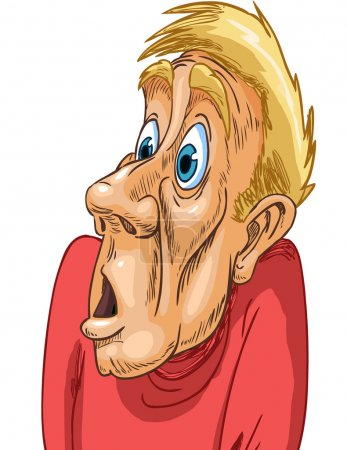 Illustration for Middle aged man in a red Raglan strong surprised frightened expression on his face - Royalty Free Image