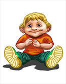 Beautiful little kid 2 years old boy sitting on the floor and looking at camera wearing shirt and jeans vector illustration