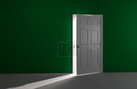 Foto de 3D imagen renderizada de una puerta blanca en una pared verde es ligeramente abierta. brilla una luz blanca brillante y resplandeciente en. - Imagen libre de derechos