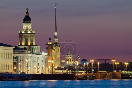 Photo for The iconic view of St. Petersburg White Night - Curiosities, Vasilievsky Island with Rostral columns, Peter and Paul Fortress and mosque in one shot. Russia - Royalty Free Image