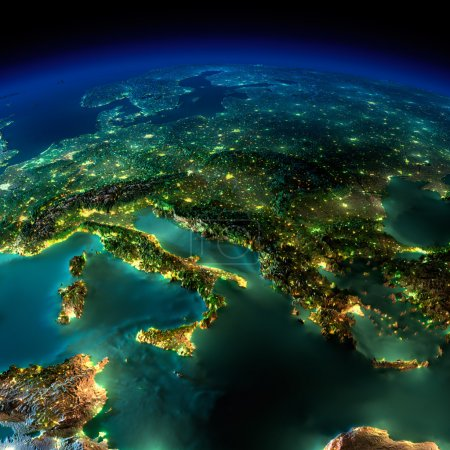 Photo pour Terre très détaillée, éclairée par le clair de lune. la lueur des villes met en lumière le terrain exagérée détaillée et les eaux translucide des Océans. éléments de cette image fournie par la nasa - image libre de droit