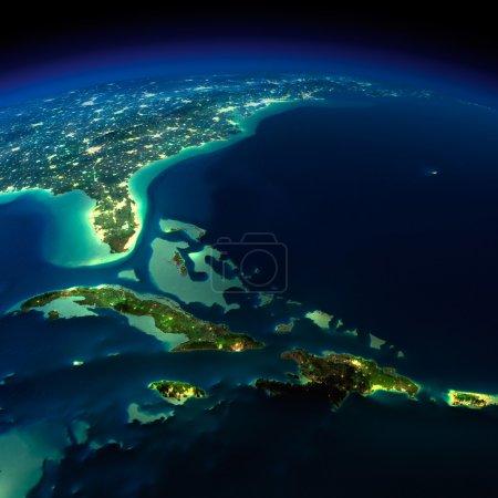 Night Earth. Bermuda Triangle area