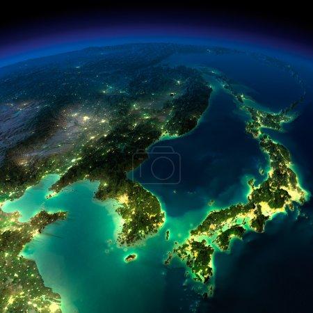 Night Earth. A piece of Asia - Korea, Japan, China
