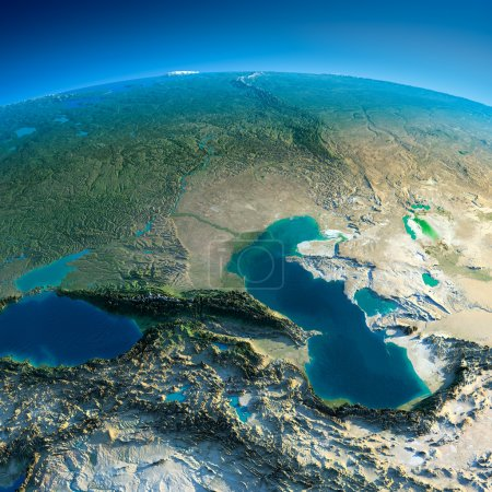 Photo pour Planète très détaillées dans la matinée. réparation précise exagérée allumé dimanche matin. détaillée de la terre. Caucase. éléments de cette image fournie par la nasa - image libre de droit