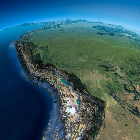 Photo for Highly detailed planet Earth in the morning. Exaggerated precise relief lit morning sun. Detailed Earth. Bolivia, Peru, Brazil. Elements of this image furnished by NASA - Royalty Free Image