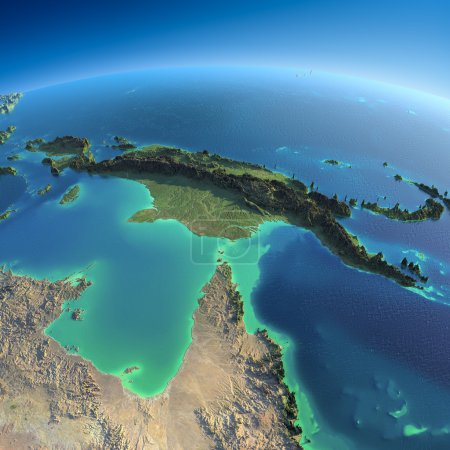 Photo for Highly detailed planet Earth in the morning. Exaggerated precise relief lit morning sun. Detailed Earth. Australia and Papua New Guinea. Elements of this image furnished by NASA - Royalty Free Image