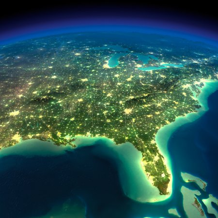 Photo for Highly detailed Earth, illuminated by moonlight. The glow of cities sheds light on the detailed exaggerated terrain. Night Earth. Gulf of Mexico and Florida. Elements of this image furnished by NASA - Royalty Free Image