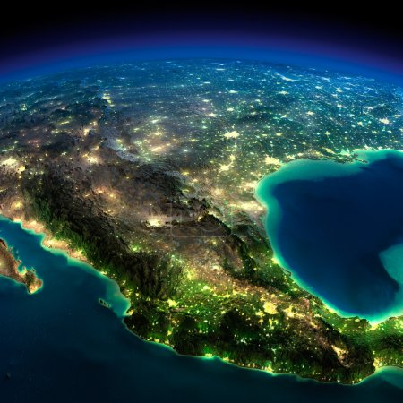 Photo for Highly detailed Earth, illuminated by moonlight. The glow of cities sheds light on the detailed exaggerated terrain. North America. Mexico. Elements of this image furnished by NASA - Royalty Free Image