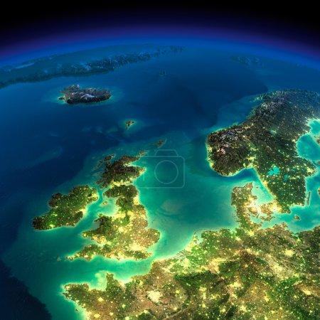 Photo pour Terre très détaillée, éclairée par le clair de lune. la lueur des villes met en lumière le relief détaillé exagérée. nuit. Royaume-Uni et la mer du Nord. éléments de cette image fournie par la nasa - image libre de droit