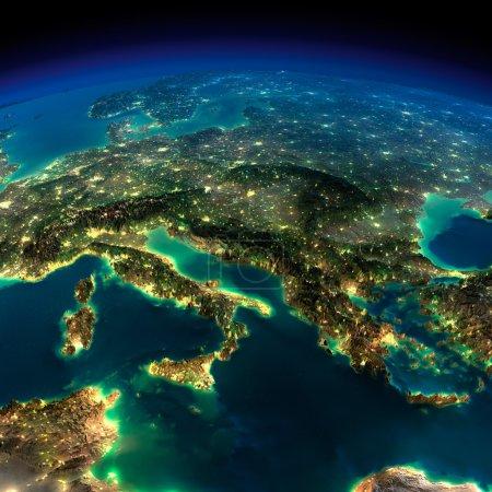 terre de nuit. un morceau d'europe - Italie et Grèce