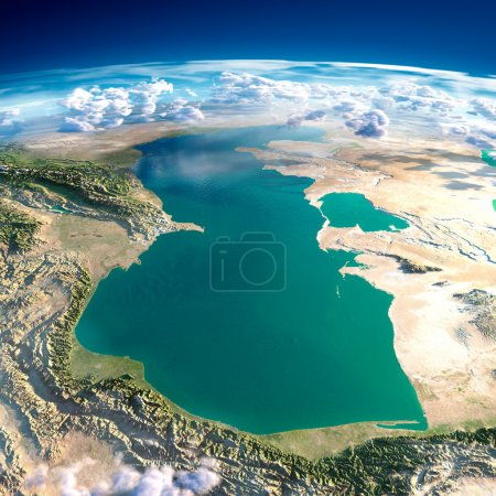 Photo pour Fragments très détaillées de la planète terre avec soulagement exagérée, océan translucide et nuages, éclairée par le soleil du matin. la mer Caspienne. éléments de cette image fournie par la nasa - image libre de droit