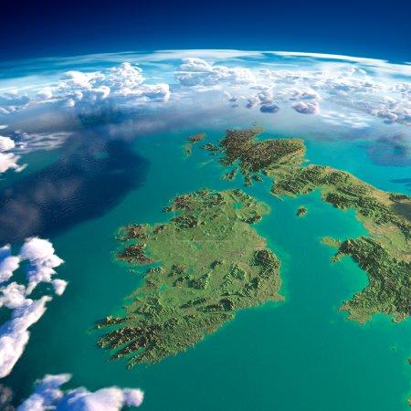 Foto de Fragmentos altamente detallados del planeta tierra con relieve exagerado, océano translúcido y nubes, iluminado por el sol de la mañana. Irlanda y Reino Unido. elementos de la imagen proporcionada por la nasa - Imagen libre de derechos